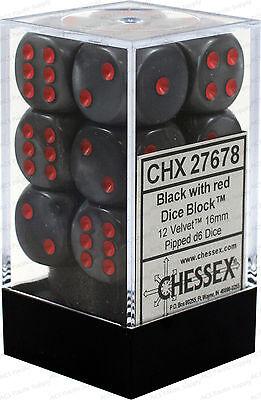 Set 12 d6 Dadi Chessex VELVET BLACK red 27678 Dice NERO rosso