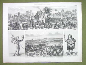 GERMANY-in-Middle-Ages-Village-Square-Festival-Scene-etc-1870s-Engraving-Print