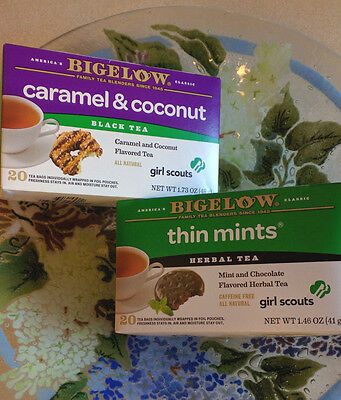 Bigelow Girl Scouts Tea Caramel Coconut deLites or Thin Mints * 20 sealed bags