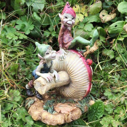 Pixie FRATELLI FUNGO Fata Giardino Decorazione Ornamento da giardino in Figura Elfo Regalo