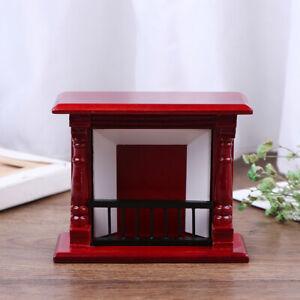 1-12-Dollhouse-Miniature-Vintage-Red-Wooden-Fireplace-Model-Dollhouse-Furni-DD