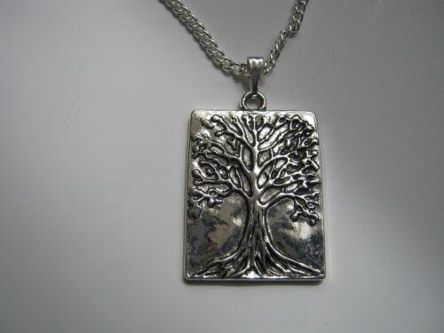 Nuevo Collar Chapado en Plata con árbol de la vida Colgantes /& Caja De Regalo