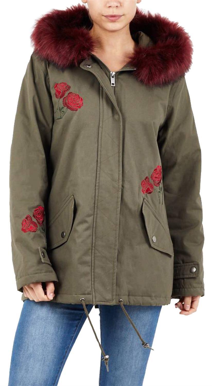 Nuevo abrigo de chaqueta de Parka con cola de pez y diseño floral con capucha de piel de vino para damas 8-16