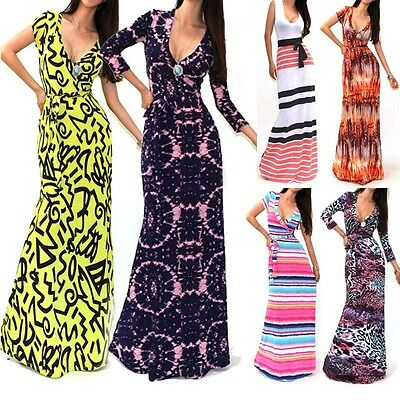 Womens Formal 3/4 Sleeve V-neck Bandage Printed Long Dress Wrap Tunic Maxi Dress