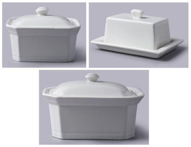 CKS WM Bartleet & Sons White Porcelain Ceramic Butter Terrine Dishes with Lids