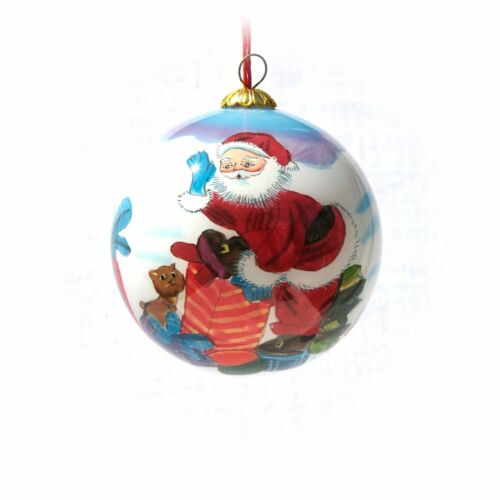 Red Gift Box Santa by Chimney with presents ornament