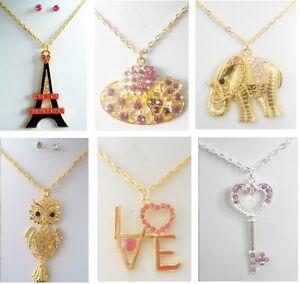 A-34-wholesale-Jewelry-lot-10-Pcs-Pendant-rhinestone-crystal-necklace