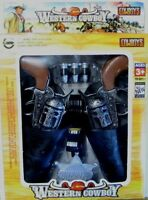 Western Cowboy Double Holster Toy Gun Play Set- Brown Grips A