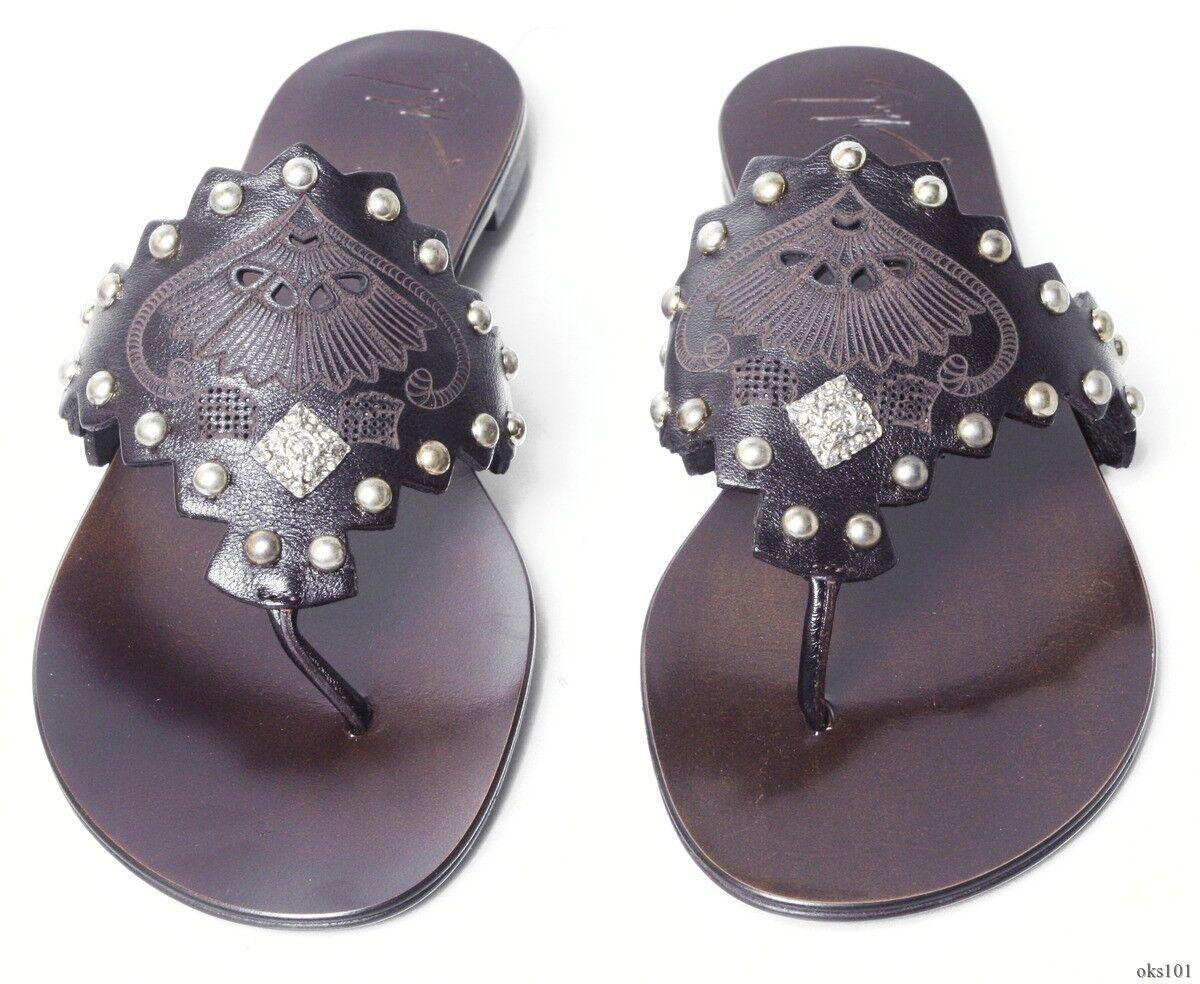 New  Giuseppe ZANOTTI dark brown STUDDED jeweled thong mules flats shoes