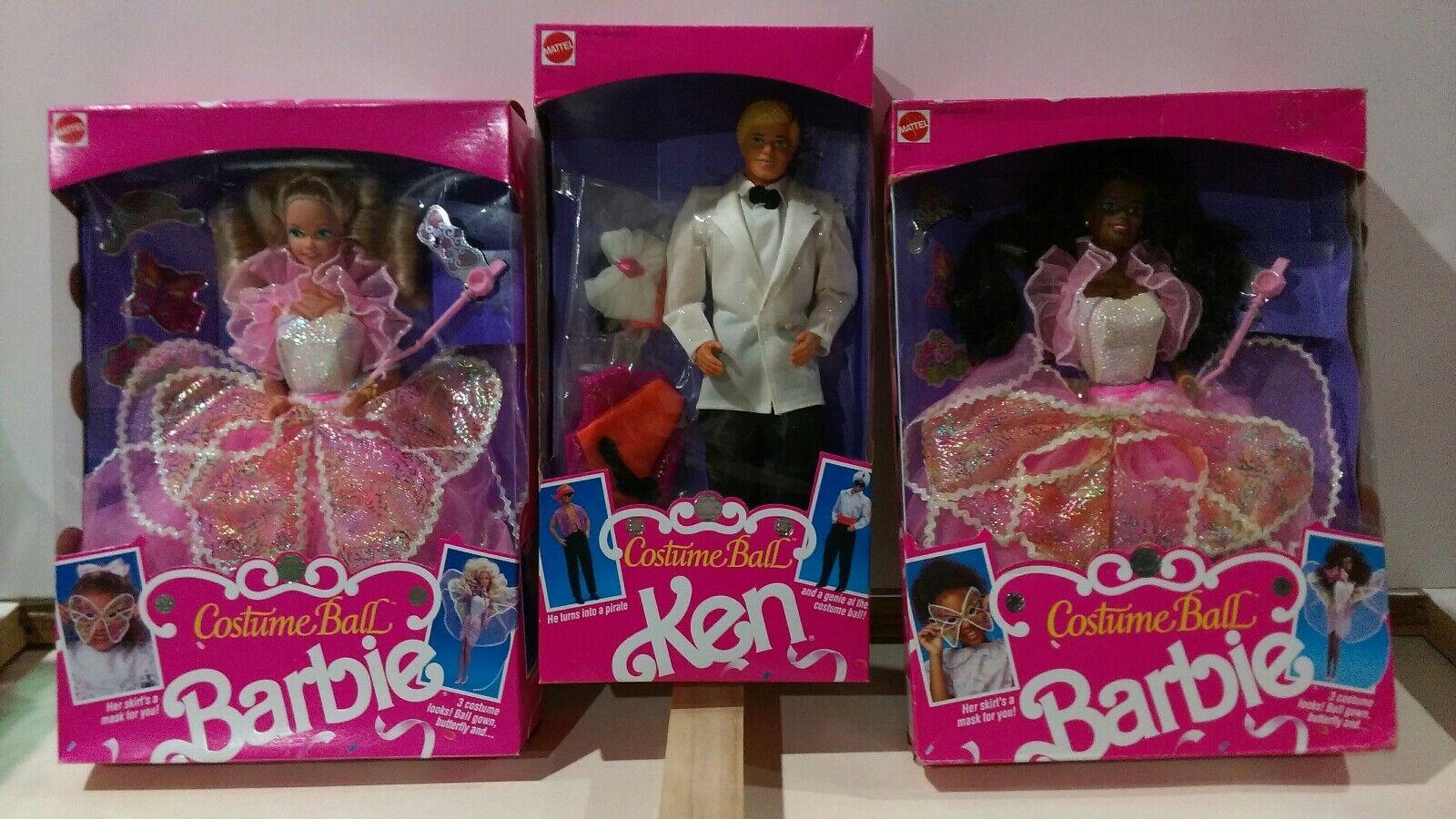 Lote de 3 Muñecas Barbie Ken Costume Ball 1990