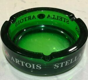 Stella-Artois-Green-Crystal-Glass-Ashtray-6-inches-Diameter-Made-In-Italy