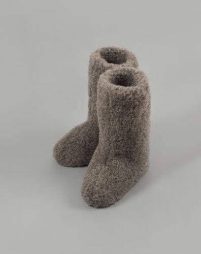 Size 11.5 BLACK CALF TALL MENS WOOL BOOTS WARM SLIPPERS SHEEP SEX NATURAL