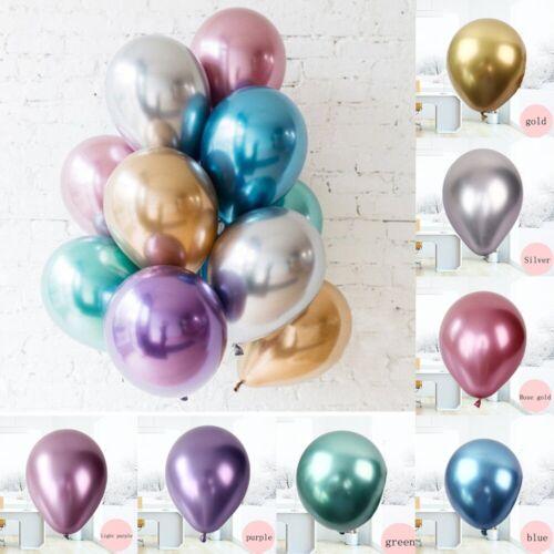 """10 pcs 12/"""" Metallic Chrome Shiny Balloons Bouquet Wedding Birthday Party Decor"""