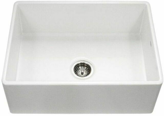 30 White Fireclay Single Bowl Farmhouse Apron Kitchen Sink Grid Strainer For Sale Online Ebay