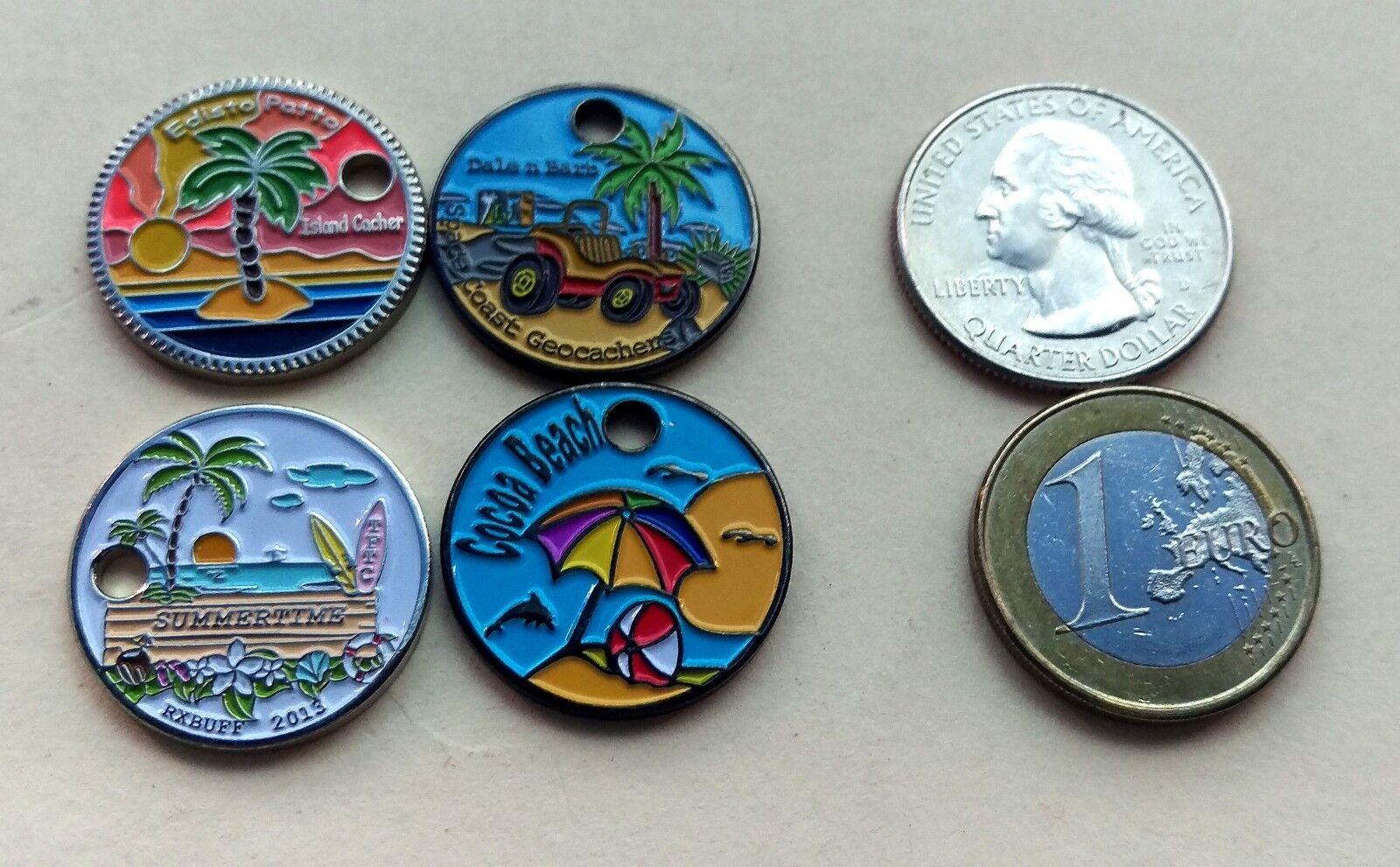 4 island / beach / palm tree themed pathtags sunset dolphin pathtag