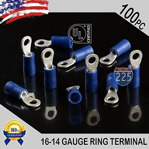 300 PACK 22-16 Gauge #8 Stud Insulated Vinyl Ring Terminals 100/% Tin Copper Core
