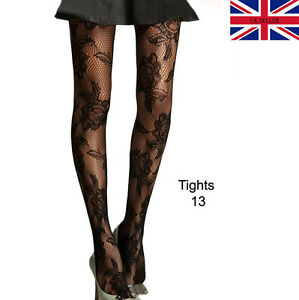 f31a96f9e Image is loading DELUXE-Black-Floral-Rose-Patterned-Tights-Ladies-Womens-