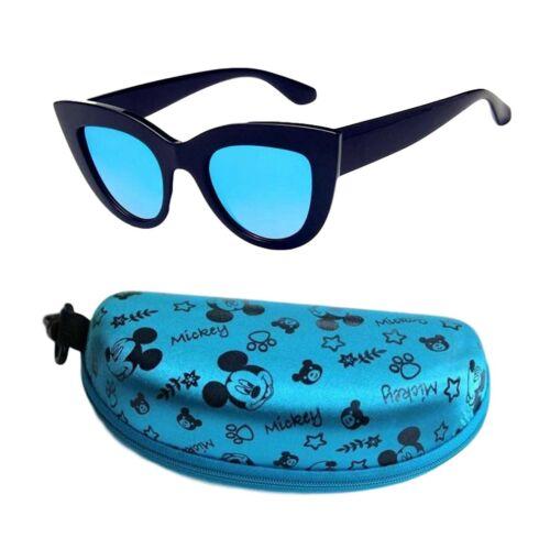 Bleu Noir Réfléchissant VINTAGE 50 s Cat Eye Lunettes de soleil bleu Mickey Mouse Case UK