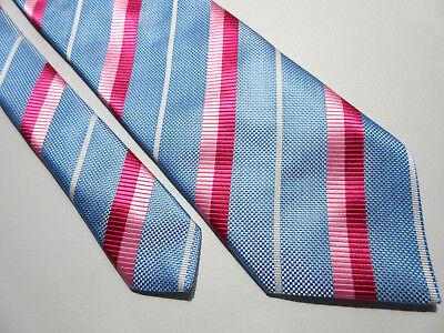 & Spencer Imbottito Marks Blu Rosa Bianca A Righe 3.75 Pollici Di Poliestere Cravatta-mostra Il Titolo Originale