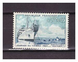s24610-FRANCE-1960-MNH-Stamp-Day-cable-ship-1v