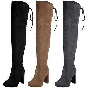 Womens Over The Knee Thigh High Lace Tie Suede Block Heel Shoes Boots