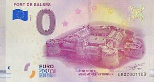 BILLET-0-EURO-FORT-DE-SALSES-FRANCE-2018-NUMERO-1100