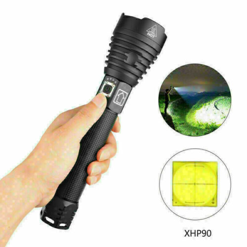 Super Bright XHP90 LED Flashlight Rechargeable 3 Modes Zoom Tactical Torch