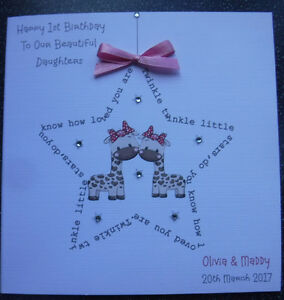 Image Is Loading HANDMADE PERSONALISED 1ST BIRTHDAY CARD TWINS TWINKLE
