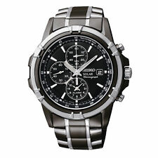NEW Luxury Seiko SSC143 Solar Chrono Black Dial and  Stainless Steel Men's Watch