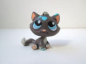 Details About Lps Littlest Pet Shop Brown Cat Blue Eyes Hearts Messy Paint 815