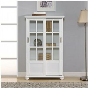 Details about Glass Door Display Cabinet White Cupboard Bookcase 2 Sliding  Doors Adjustable