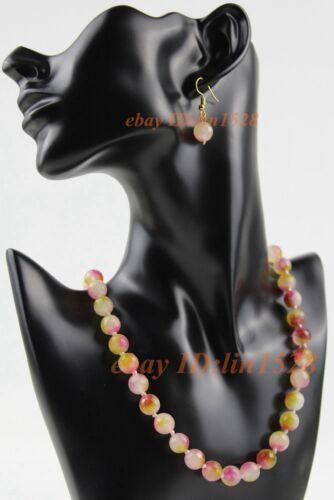 """A-18 Faceted 10 mm Peach Rouge Spodumène perles rondes Collier Boucles d/'oreilles set18/"""""""