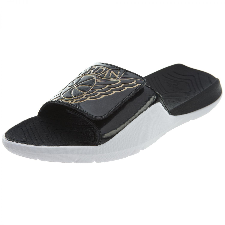 22a0d1ebd9cc Jordan Hydro 7 Mens AA2517-021 Black Black Black White Gold Wings Logo Slide  Sandals Size 13 0c4e6a
