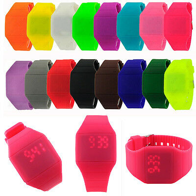 Mens Womens Digital LED Touch Screen Sports Bracelet Silicone Wrist Watch