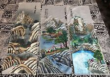 "3 Antique Chinese Panel Wall Hanging Tapestry Hand Embroidery 14""X 42"""