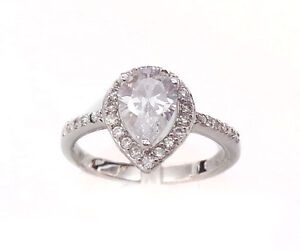 Ladies-Ring-Solitaire-Pear-Cut-925-Sterling-Silver-CZ-Cubic-Zirconia-Band