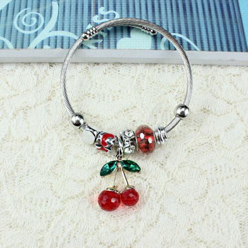 Cherry Retro Wristband Stainless Steel Bracelets Cuff Bangles Men's Women/'s Punk