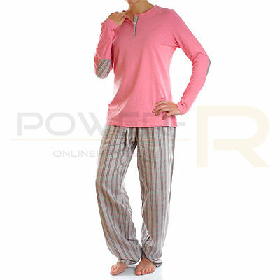 Damen Flanell Schlafanzug Pyjama  Gr S, M, L, XL, 36 38 40 42 44 46 48 50