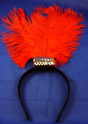 2019 Nuovo Stile Donna Rossa Piuma Sulla Fascia Moulin Rouge Charleston Flapper Costume-mostra Il Titolo Originale Aspetto Estetico