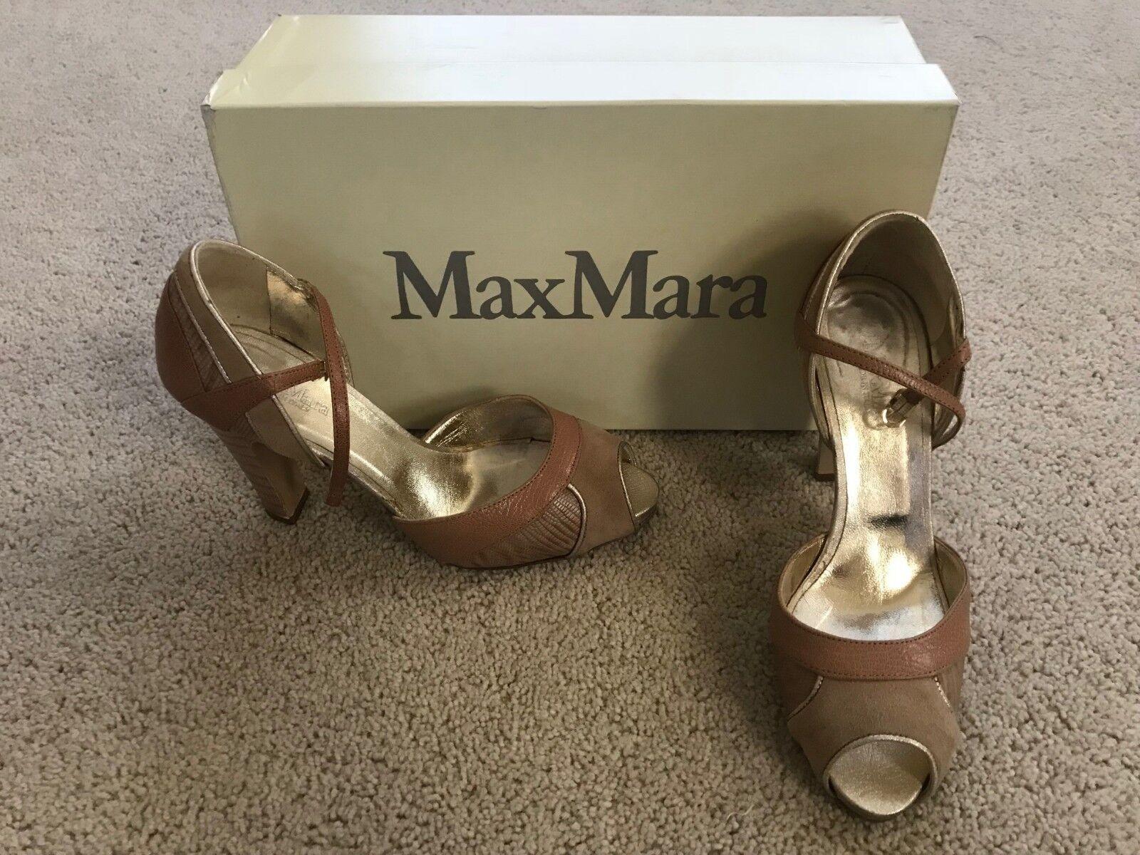 Max Mara  Romana Cera size 37 1/2   (  1/2 7) heels Italy (VERO CUOIO) retail  540 4e9379