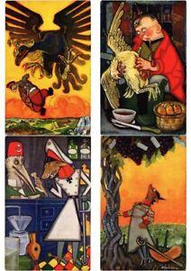 F-SANCHA-ARTIST-SIGNED-SATIRE-PROPAGANDA-ANIMALS-WWI-6-Vintage-Postcard-L2608