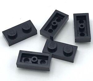 Lego-5-Nuevo-Negro-Placas-1-x-2-Punto-Piezas-Partes