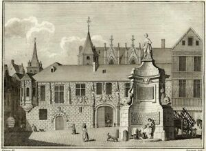 Architecture-Fountain-of-the-Maid-in-Rouen-Millin-Engraving-Original-18th