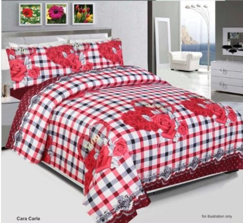 Luxury Duvet Cover Set Quilted Cover With Pillow Cases /& Fitted Sheet All Sizes