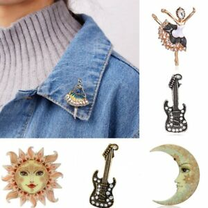 31e522764 Image is loading Sun-Moon-Dancing-Girl-Rhinestone-Pearl-Costume-Brooch-