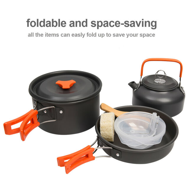 7a912edf670 ANDES 2 Person Camping Cook Set Hard Anodised Aluminium Includes ...
