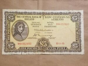1975 Ireland Eire Irish 5 Pound Note Lavery £5 Punt P 65c VERY NICE  banknote !