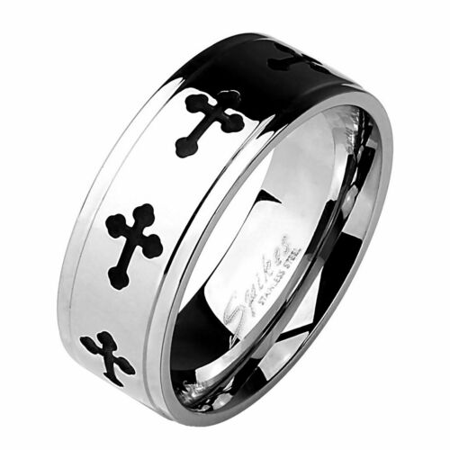 Mens Gothic Cross Ring Stainless Steel Crucifix Band Sizes 9-13 Comfort Fit 8mm