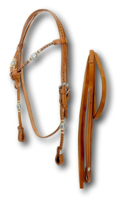 D.A. Brand Medium Oil Leather Futurity Brow Bridle w/ Silver Dots Horse Tack