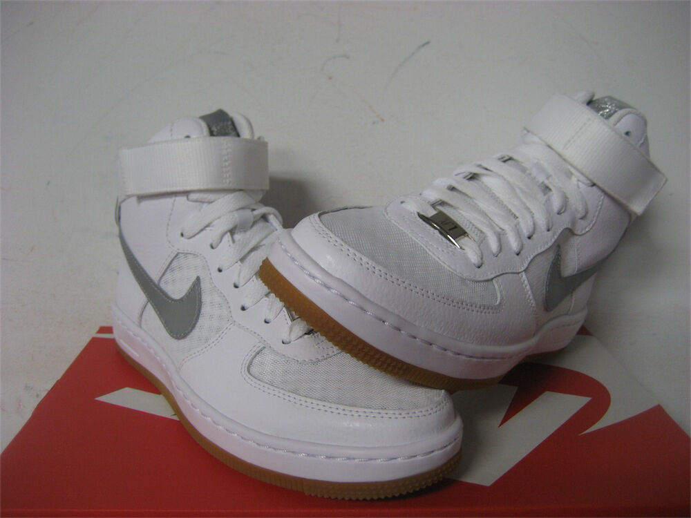 Womens Nike Air Force 1 Ultra Mid White Metallic Silver Gum Sz 5 654851-102